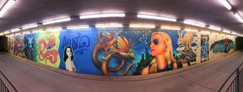"""In Flight, Fastest"" mural   Murals by Liza Fishbone   Circuit of the Americas in Austin"