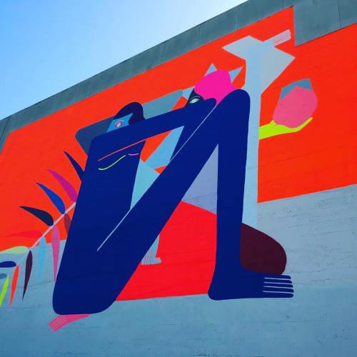 Murals by Richard Colman seen at Zuckerberg San Francisco General Hospital and Trauma Center, San Francisco - Geometric-Symmetrical Mural