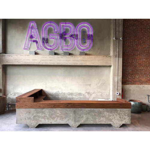 AGBO Films - Solid Walnut Reception Desk with Concrete Base | Tables by Angel City Woodshop | Agbo Films in Los Angeles