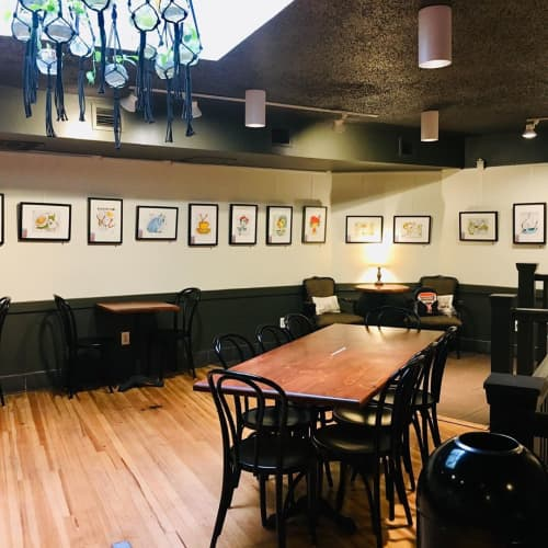 Paintings by Véro The Traveling Artist seen at FILTER-Coffee Parlor, Birmingham - Gourmande