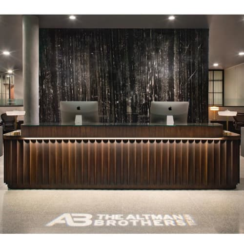 Altman Brothers - Fluted Solid Black Walnut Reception Desk | Tables by Angel City Woodshop | The Altman Brothers in Beverly Hills