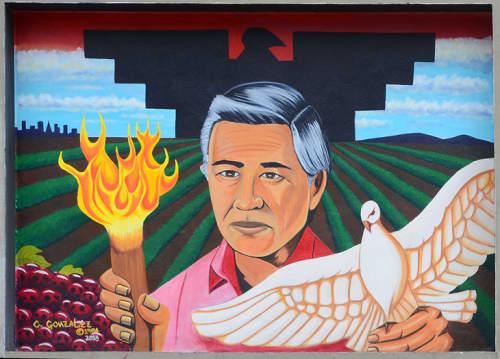 "Cezar Chavez   Murals by Carlos ""Kookie"" Gonzalez   Cesar Chavez Student Center in San Francisco"