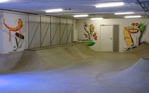 Murals by Nicolas Barrome seen at Biarritz, Biarritz - Skatepark Indoor Mural