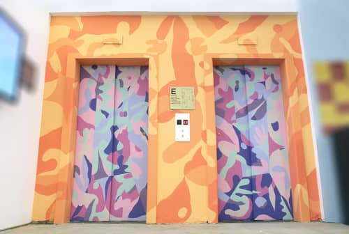 Murals by Morgan Blair seen at Facebook, New York, Astor Place, New York - Elevator Bank Mural