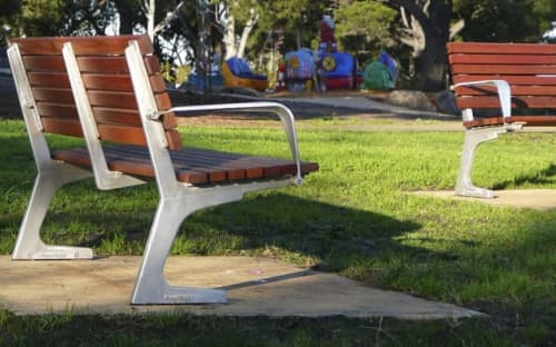 Benches & Ottomans by Andrew Gibbs seen at Coburg Lake Reserve, Coburg North - Fulcrum Street Furniture Suite