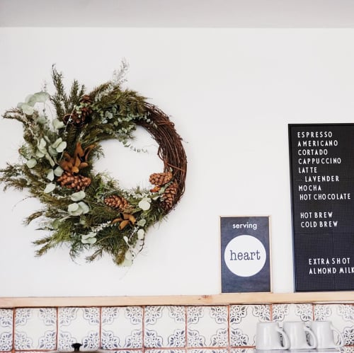 Floral Arrangements by Fibers & Florals seen at Eightfold Coffee, Los Angeles - Floral Wall Art