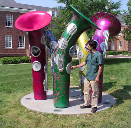 Sculptures by Christopher Janney seen at Hyattsville Justice Center, Hyattsville - Hyattsville Horns