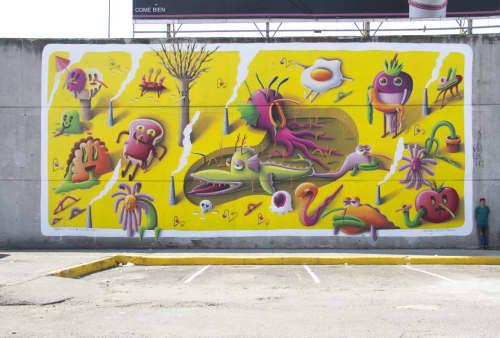 Street Murals by Nicolas Barrome seen at Central de Abasto, Ciudad de México - Jeronimo Climatico