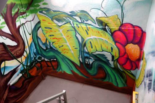 Murals by Pemex seen at Hotel Zetta, San Francisco - Flower Power