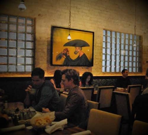 Paintings by Rafael Coronel seen at Yxta Cocina Mexicana, Los Angeles - La Ofrenda