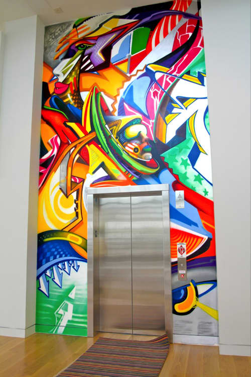 Murals by Maxx Moses seen at Angelika Film Center & Café at Mosaic, Fairfax - Angelika