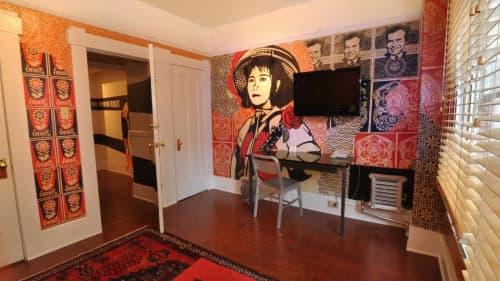 Murals by Frank Shepard Fairey seen at Hotel Des Arts, San Francisco - Suite 210 - Revolutionary Girl Mural