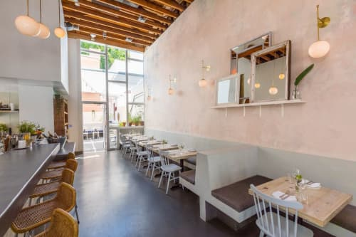 Wall Treatments by Alexis Gourguechon seen at Botanica Restaurant & Market, Los Angeles - Distressed Plaster in Dusty Rose