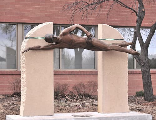Public Sculptures by Sutton Betti seen at Edora Pool Ice Center (EPIC), Fort Collins - Master Swimmer