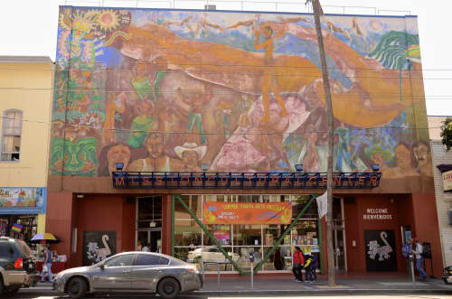 Murals by Carlos Loarca seen at Mission Cultural Center for Latino Arts, San Francisco - Mission Cultural Center Mural