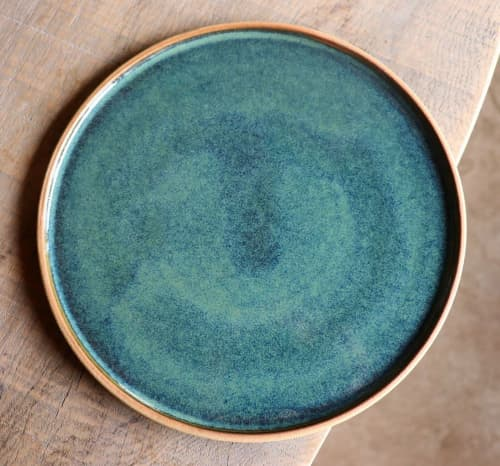 Dinner Plate in Lagoon Glaze | Ceramic Plates by Ceramics by Charlotte