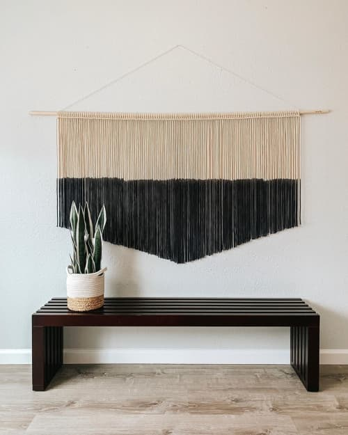 Macrame Wall Hanging by Love & Fiber seen at Private Residence, San Diego - Large Black Macrame Wall Hanging & Fiber Art