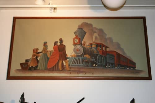 Murals by Edith Hamlin at US Post Office - Tracy, Tracy - Days of First Railroad