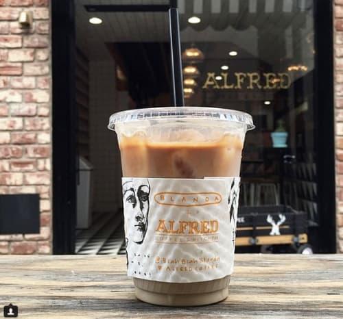 Custom Made Coffee Sleeves | Murals by Blanda | Alfred Coffee (Melrose Place) in Los Angeles