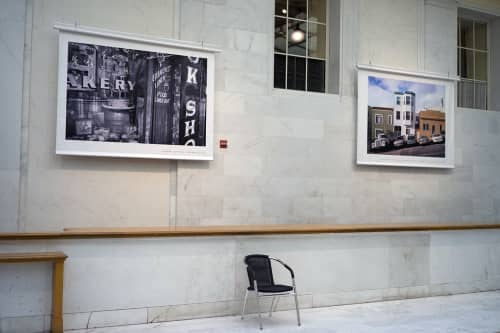 """Photography by Jason Tannen Photography seen at San Francisco City Hall, San Francisco - Temporary installation view, """"""""Food Take Out,"""""""" banner, 60in x 80in"""