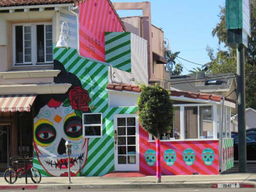 Murals by The Art of Chase seen at Tacos Tu Madre, Los Angeles - Day of the Dead inspired Mural