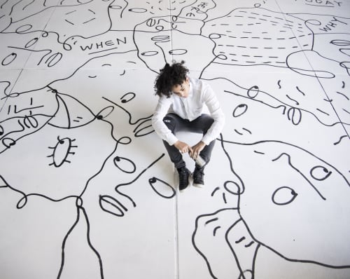 Art Curation by NINE dot ARTS at Theatre District - Convention Center Station, Denver - Denver Theatre District Shantell Martin Installation