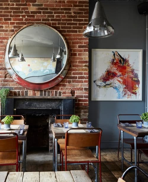 Paintings by Dave White seen at The Set Restaurant, Brighton - FOX DIAMOND DUST EDITION