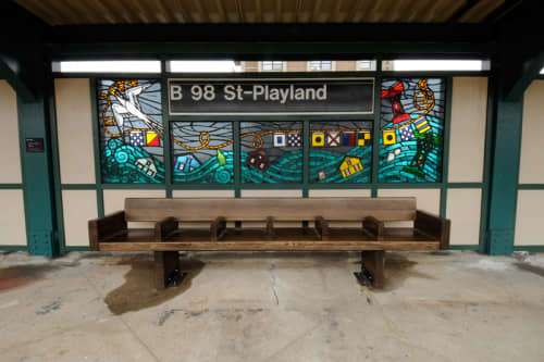 Be Good or Be Gone   Public Mosaics by Duke Riley   Beach 98 St - Playland Station in Queens