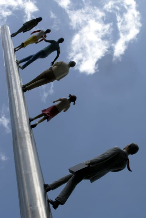 Sculptures by Jonathan Borofsky seen at Nasher Sculpture Center, Dallas - Walking to the Sky
