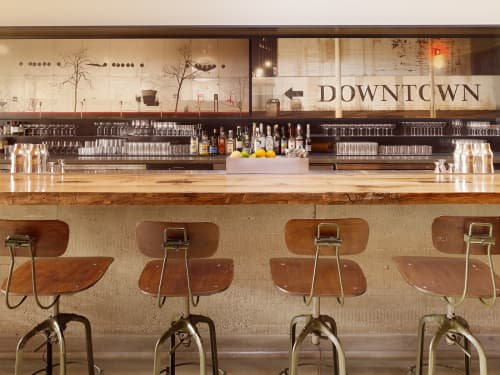 Murals by Thomas Winz seen at Bar Agricole, San Francisco - Urbanscape Mural