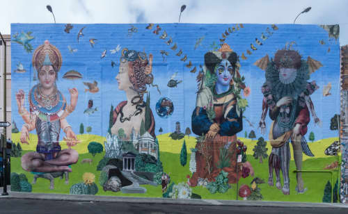 Multi-media Collage Mural   Street Murals by John Vochatzer   Olive Street, San Francisco, CA in San Francisco