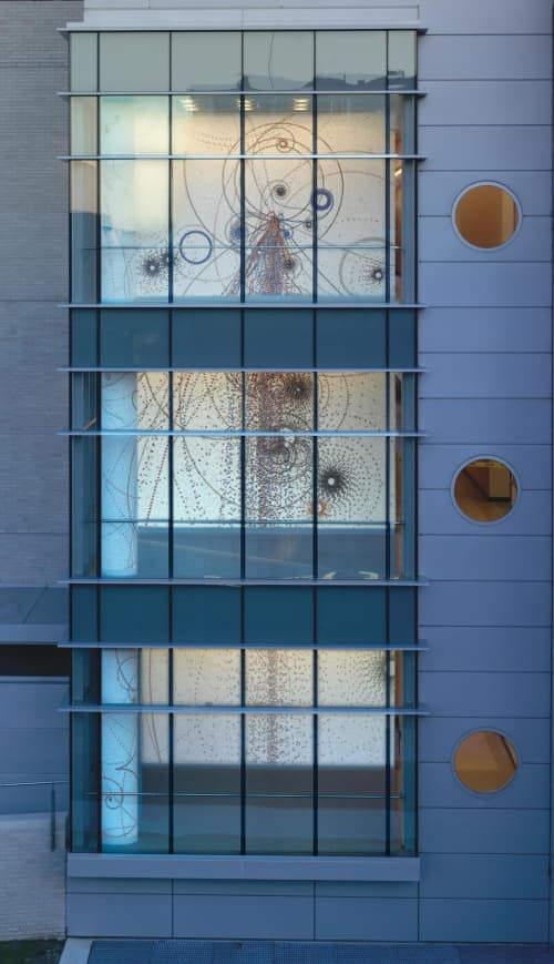Murals by Carter Hodgkin seen at Remsen Hall, Queens College, NY, Queens - Mosaic - Electromagnetic Fall