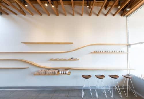 Custom Curved Plywood Shelves   Furniture by Ryan Upton   Dinosaur Coffee in Los Angeles