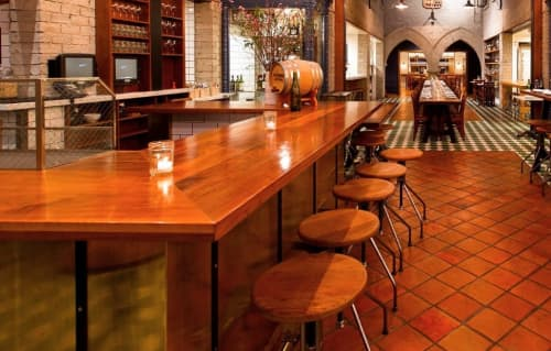 Tables by Walter Manzke seen at République, Los Angeles - Wooden Bartop