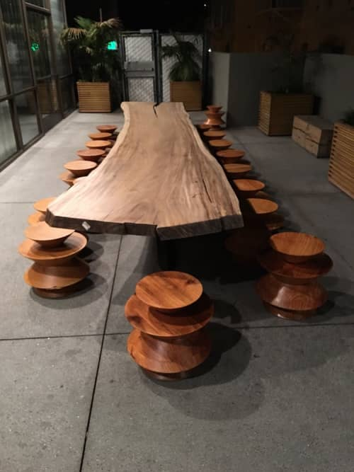 Communal Wood Table and Chairs | Tables by Knibb Design by Sean Knibb | The LINE LA in Los Angeles