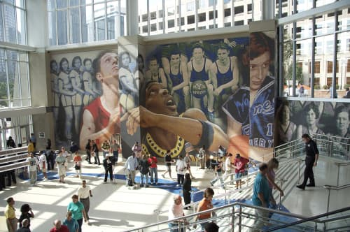 Public Mosaics by Mike Mandel seen at Spectrum Center, Charlotte - Trade Street Wall