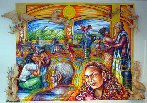 Santuario/Sanctuary   Murals by Emmanuel Catarino Montoya   San Francisco International Airport in San Francisco