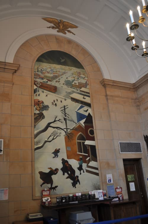 """Murals by William Gropper at United States Postal Service - Freeport, Freeport - """"Suburban Post in Winter"""" Close Up"""