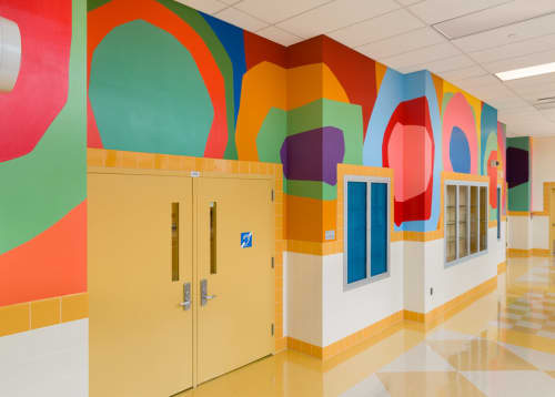 Murals by Raymond Saá seen at PS 357 Young Voices Academy of the Bronx, Bronx - Wall Drawings