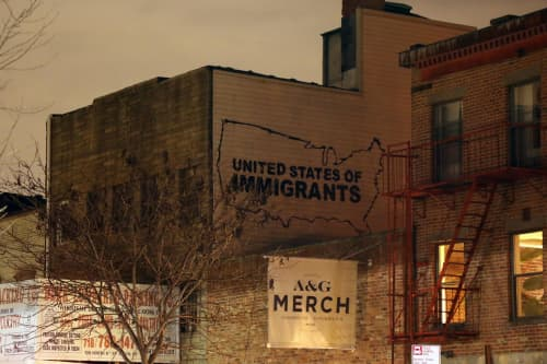 Murals by Icy and Sot seen at A&G Merch, Brooklyn - United States of Immigrant Mural