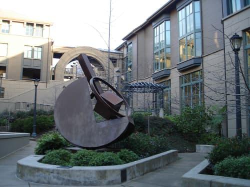 Sculptures by Fletcher Benton seen at Haas School of Business, Berkeley - Folded Circle Trio