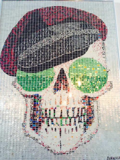 Public Mosaics by Jeff Ivanhoe seen at Mercado Hollywood, Los Angeles - Miles Skull Mosaic