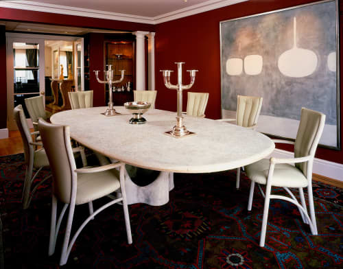 """Tables by John Makepeace seen at Private Residence, London - """"Time"""" dining table and chairs"""