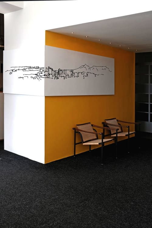 """Murals by Lorenzo Nassimbeni at Loudon Perry Anderson Architects, Cape Town - """"Context, Illustration on board"""""""