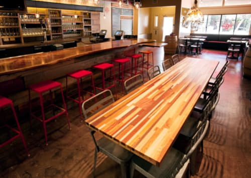 Tables by Conor Mehan seen at Roam Artisan Burgers, San Francisco - Communal Table from Laminated Strips of Wood
