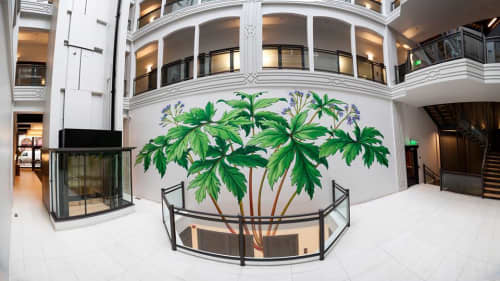 Murals by Mona Caron at The Postal Building, Portland - Pacific Waterleaf
