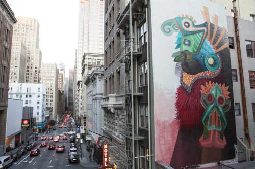 Murals by Favio Martinez (Curiot) seen at Hotel Des Arts, San Francisco - Beast