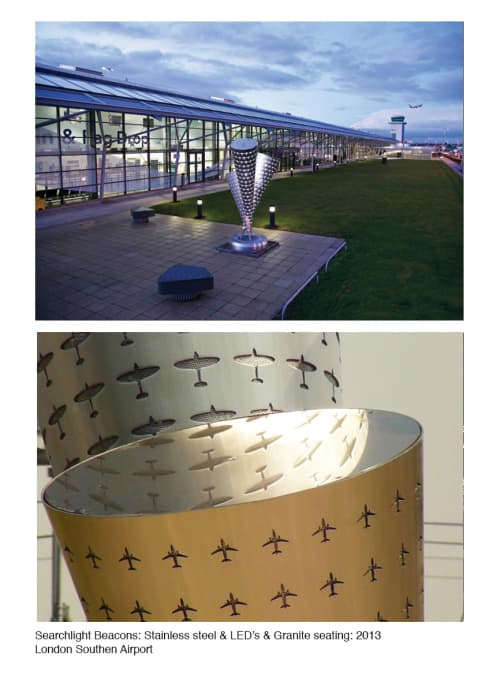 Searchlight Beacons | Sculptures by John Atkin | London Southend Airport in Southend-on-Sea
