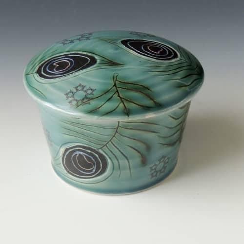 Tableware by MeghCallie Ceramics - Peacock Feather Jar