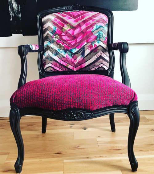 Chairs by Lisa Batson Goldberg (LBG Interiors) - Peony Print On Chevron